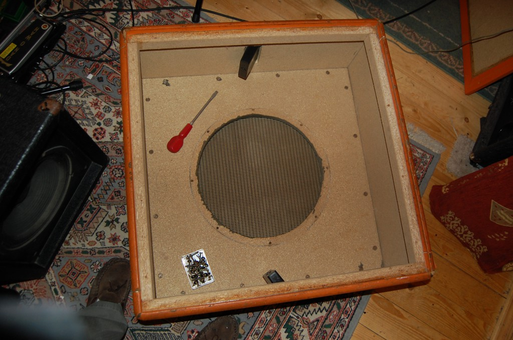Speaker removed showed chipboard had got damp around the speaker...