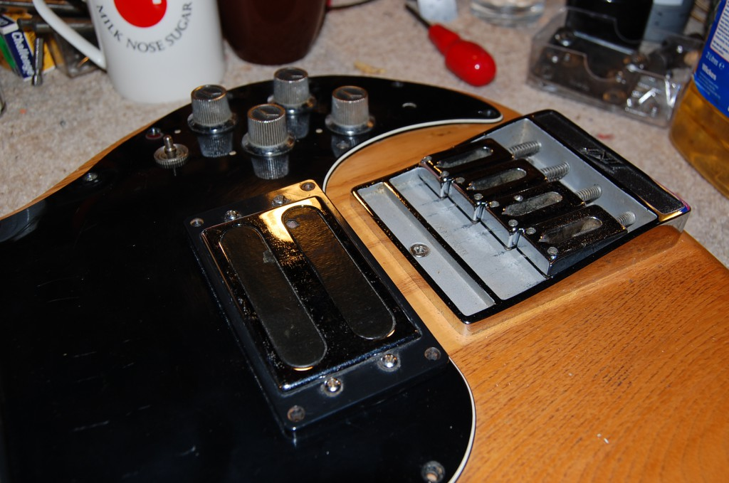 Just waiting for the phase switch to come in then the wiring can be finished and the pickguard go back on
