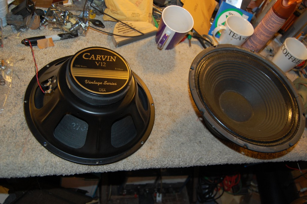 2 Carvin 100 Watters to put in these are 8 Ohm so togeterh will give 4 Ohms ideal for the amp