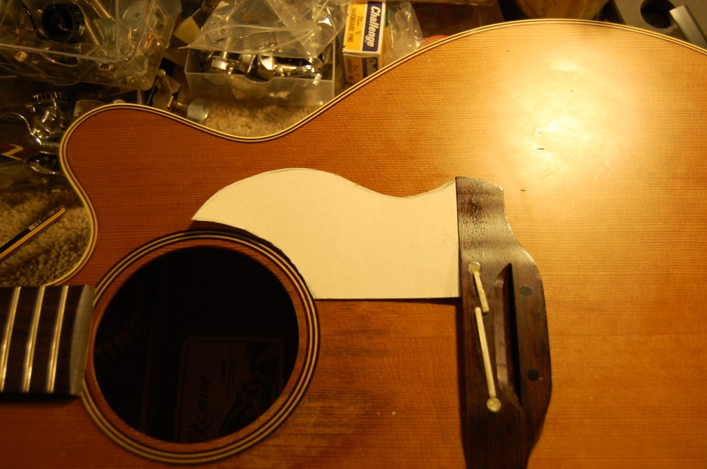 Making a template for a couple of small pickguards to protect the guitar