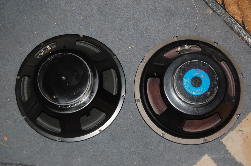 "Found an OEM Eminence Speaker that is similar to the one it replaces.. but with a larger magnet (improved sensitivity and power handling.. Identical frame I think it is the same as the ""Legend"" speaker"